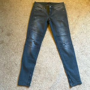 NEW Gray Distressed Vintage Moto Jeans